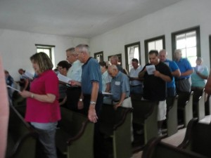 A special summer worship service at the Hosensack Meeting House