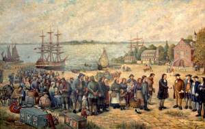 """Landing of the Schwenckfelders from the St. Andrew"" by Adolf Pannash, Collection of the Schwenkfelder Library & Heritage Center"